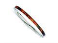 Chisel Stainless Steel Dark Green/red/orange Enameled Bangle