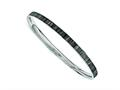 Chisel Stainless Steel Black And White Enameled Bangle