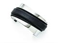 Chisel Stainless Steel Polished With Leather Cuff Bangle