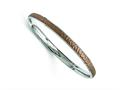 Chisel Stainless Steel Polished/laser Cut Brown Ip-plated Hammered Bangle