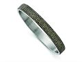 Chisel Stainless Steel Polished Black Enamel W/crystals Thin Flat Bangle