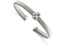 Chisel Stainless Steel Polished Flexible Four Leaf Clover Bangle