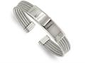 Chisel Stainless Steel Polished And Textured Engraveable Cuff Bangle