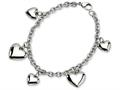 Chisel Stainless Steel Polished Hearts 8in Bracelet