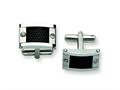 Chisel Stainless Steel Black Mesh Inlay Cuff Links