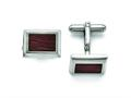 Chisel Stainless Steel Polished With Wood Inlay Cuff Links