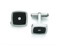 Chisel Stainless Steel Polished Enameled Cz Cuff Links