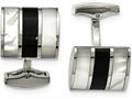 Chisel Stainless Steel Polished Black Semi-precious Stone and Mop Cuff Links