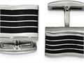 """Chisel Stainless Steel Polished Black Cat""""s Eye Rectangle Cuff Links"""
