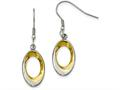 Chisel Stainless Steel Polished Yellow Ip-plated Oval Earrings