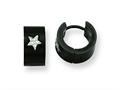 Chisel Stainless Steel Black IP-plated Star Hinged Hoop Earrings
