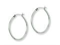 Chisel Stainless Steel 34mm Diameter Oval Hoop Earrings