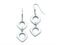 Chisel Stainless Steel Square Shepherd Hook Dangle Polished Earrings