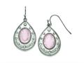 Chisel Stainless Steel Polished Rose Quartz And Cz Shepherd Hook Earrings