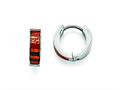 Chisel Stainless Steel Polished Dark Green/red/orange Enameled Hinged Hoop Earring