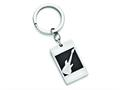 Chisel Stainless Steel Polished Black Carbon Fiber Inlay Guitar Key Ring