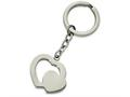 Chisel Stainless Steel Polished Double Heart Key Ring