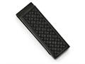 Chisel Stainless Steel Polished Black Ip-plated W/ Leather Inlay Money Clip