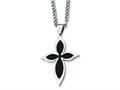 Chisel Stainless Steel Carbon Fiber Cross Necklace - 24 inches