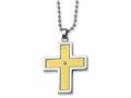 Chisel Stainless Steel 14k Gold and Diamond Accent Cross Necklace - 22 inches
