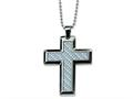 Chisel Stainless Steel Grey Carbon Fiber Cross Necklace - 24 inches