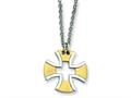 Chisel Stainless Steel Gold Plated Cross Necklace - 18 inches