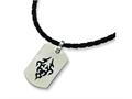 Chisel Stainless Steel Leather Cord Black Accent Necklace - 18 inches
