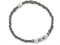 Chisel Stainless Steel Polished And Brushed Beads Twisted Necklace