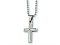 Chisel Stainless Steel Diamond Accent Cross Necklace - 22 inches