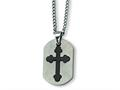 Chisel Stainless Steel Black Plated Cross Necklace - 22 inches