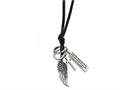 Chisel Stainless Steel Leather Cord Angel Wing Charms Slip-on Necklace