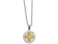 Chisel Stainless Steel Brushed/polished Yellow Ip Spanish Lords Prayer Necklace