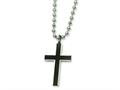 Chisel Stainless Steel Carbon Fiber Cross Pendant Necklace - 22 inches