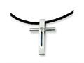Chisel Stainless Steel Rope Accent Cross Pendant Necklace - 18 inches