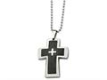 Chisel Stainless Steel Polished and Carbon Fiber Cross 22in Necklace