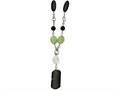 Chisel Stainless Steel Prehnite and Black Agate 26in W/1.5in Ext Necklace