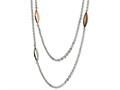Chisel Stainless Steel Rose, Brown Ip Plated and Steel Ovals 28in Necklace