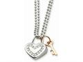 Chisel Stainless Steel Heart With Czs and Pink Ip-plated Key Necklace