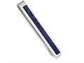 Chisel Stainless Steel Brushed And Polished With Lapis Lazuli Inlay Tie Bar
