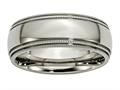 Chisel Titanium Grooved And Beaded Edge 8mm Polished Weeding Band