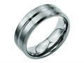 Chisel Titanium Grooved Beveled Edge 8mm Brushed And Polished Weeding Band