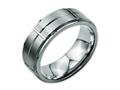 Chisel Titanium Grooved Ridged Edge 8mm Satin And Polished Weeding Band
