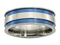 Chisel Titanium With Blue Double Groove 8.5mm Polished Weeding Band