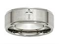 Chisel Titanium Ridged Edge Cross 8mm Brushed And Polished Weeding Band