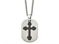 Chisel Titanium Black Plated Moveable Cross Necklace - 22 inches