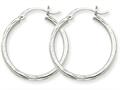 14k White Gold Bright-cut 2mm Round Tube Hoop Earrings