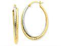 14k Two-tone Diamond-cut Polished Oval Hoop Earring