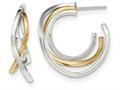14k Two-tone Polished Post Hoop Earring