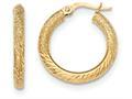 14k Textured/diamond-cut Post Hoop Earring