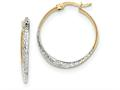 14k And Rhodium Textured And Polished Hoop Earrings